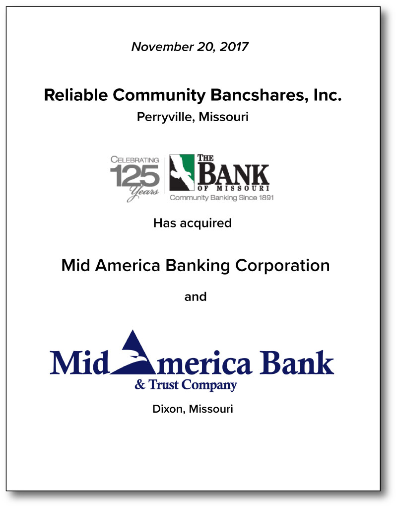 Reliable Community Bancshares, Inc.